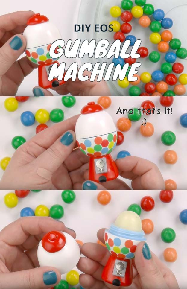 Best DIY EOS Projects - DIY Gumball Machine - Turn Old EOS Containers Into Cool Crafts Ideas Like Lip Balm, Galaxy, Gumball Machine, and Watermelon - Fun, Cheap and Easy DIY Projects Tutorials and Videos for Teens, Tweens, Kids and Adults http://diyprojectsforteens.com/diy-eos-projects