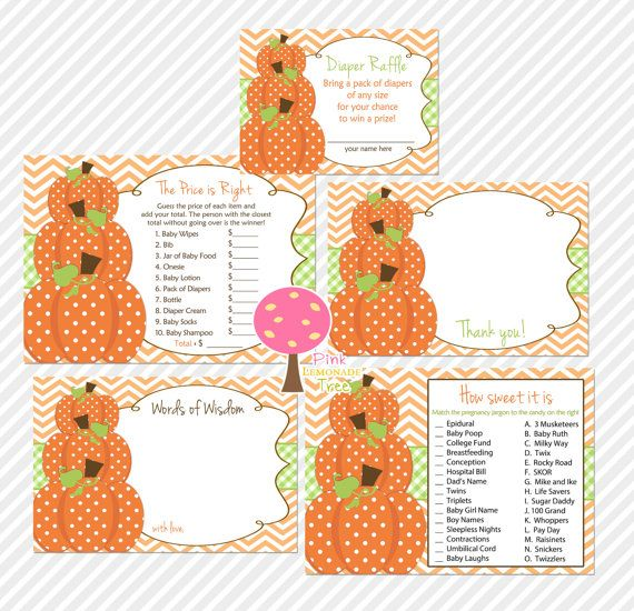 Pumpkin Baby Shower Games, How Sweet It Is, The Price Is Right, Thank You  Cards, Diaper Raffle Tickets, Words Of Wisdom, INSTANT DOWNLOAD