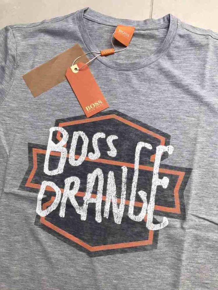 Hugo Boss Orange Label Crew Neck New Men Biker Logo Tshirt color Gray size M #HUGOBOSS #BikerTshirt