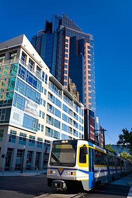 The  Renaissance Tower and the Sacramento Light Rail train, downtown Sacramento.