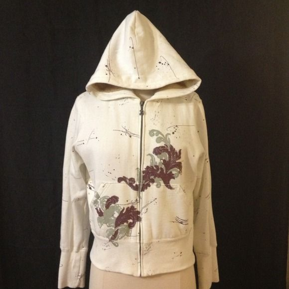 #61 Beige zip up hoodie w/cool design & fur lining Beige zip up hoodie w/cool design & fur lining deVine Jackets & Coats