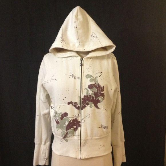 #61 Beige zip up hoodie w/cool design & fur lining Beige zip up hoodie w/cool design & fur lining deVine Jackets & Coats