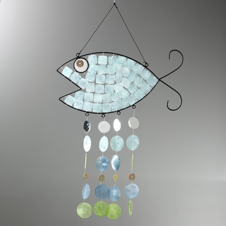 Asli Arts 29.5 Inch Fish Capiz Wind Chime