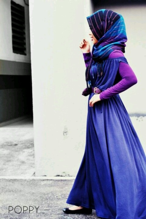 Blue purple hijab