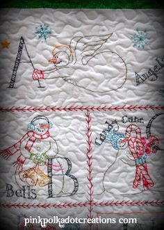 Stitched Snowman Quilt | Pink Polka Dot Creations