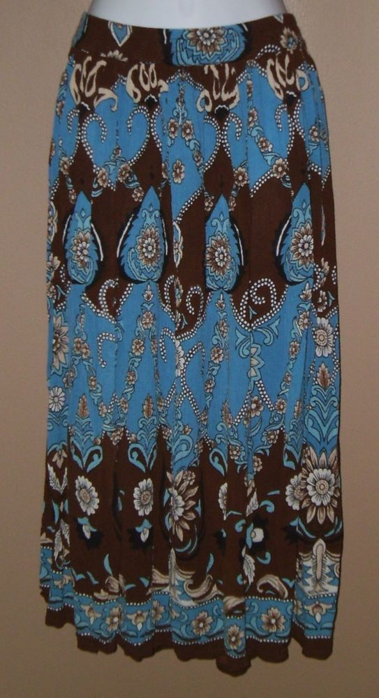 Womens XL XXL Blue Brown Beige Black Floral Skirt  #CollectionsEtc #ALine