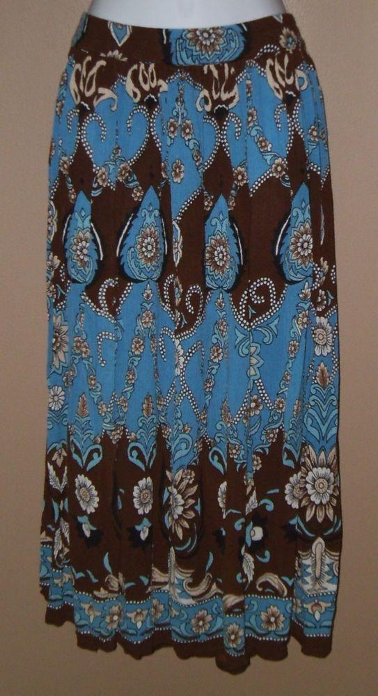 Womens XL XXL Blue Brown Beige Black Floral Skirt  #CollectionsEtc #ALine