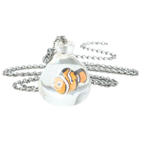 Disney Finding Nemo Fish Bag Necklace | Hot Topic ($11) ❤ liked on Polyvore featuring jewelry, necklaces, disney, fish jewelry, fish necklace, disney jewelry and disney necklace
