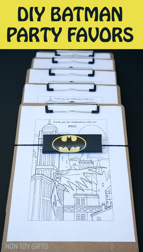 DIY Batman party favors to make for a superhero birthday party for kids. These coloring page, crayon and clipboard favors are easy and cheap and can be adapted for any superhero: Spiderman, Captain America, Superman, etc. | at Non Toy Gifts