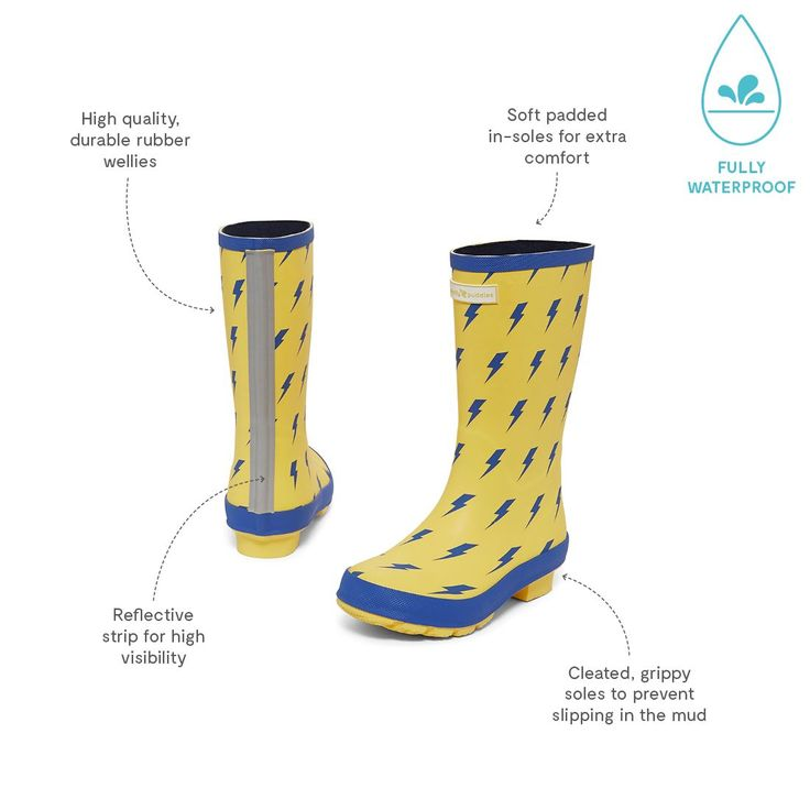 Non stop puddle stomping in these cool lightning bolt wellies. Discover our entire range of childrens Wellies online today.