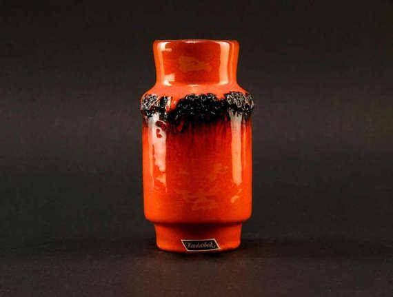 West German Fat Lava Orange Vase by KREUTZ Handmade