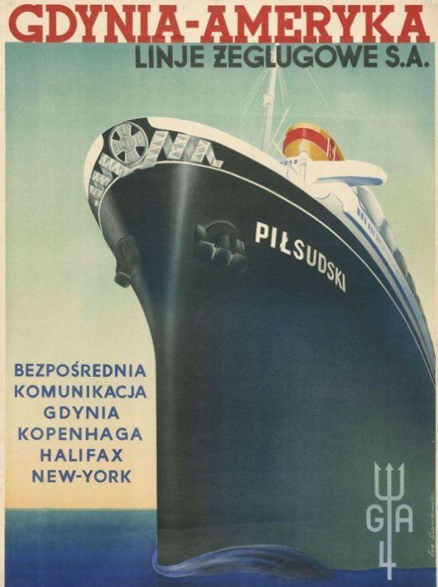 Przedwojenny plakat reklamujący połączenie Gdynia -- Nowy Jork.