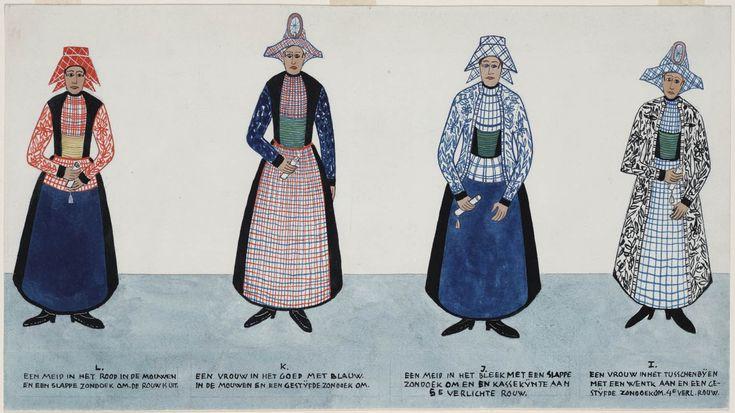 """Twee vrouwen en twee meisjes in Hindeloper streekdracht."" (Two women and two maidens in Hindeloopen regional costume.) Artists: N. Huppes and Hendrik J. Lap, 1849.  Women's costume of the town of Hindeloopen, province of Friesland, The Netherlands."