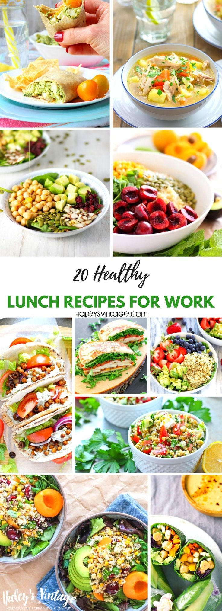 20 Healthy Lunch Recipes for Work That Are Not Boring! Are you tired of boring lunch recipes? I'm sharing twenty healthy lunch recipes for work that will bring excitement back to your lunch break!