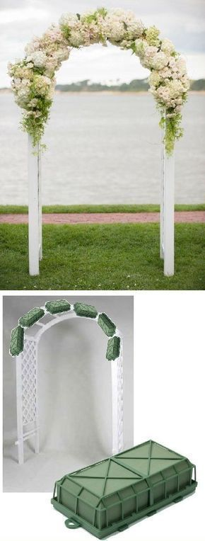 Wedding Arch Flowers - Foam Cages for Arch Flowers Free Tutorials http://www.wedding-flowers-and-reception-ideas.com/make-your-own-wedding.html Learn how to make bridal bouquets, corsages, boutonnieres, reception table centerpieces and church decorations. Buy wholesale fresh flowers and discount florist supplies. #weddingflowers