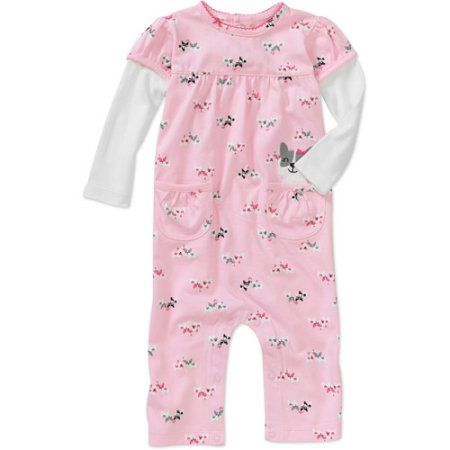 Child of Mine Carters Newborn Girls' Kitty Print Jumpsuit, Pink