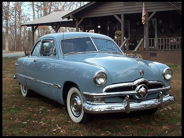 "1950 Ford Custom Coupe ""Single Spinner."" Had a car like this once in metallic sparkle green that was customized with frenchy headlights and all, with Thunderbird interior in white. A drunk sent the car to the car graveyard, but thankfully not me. CC"