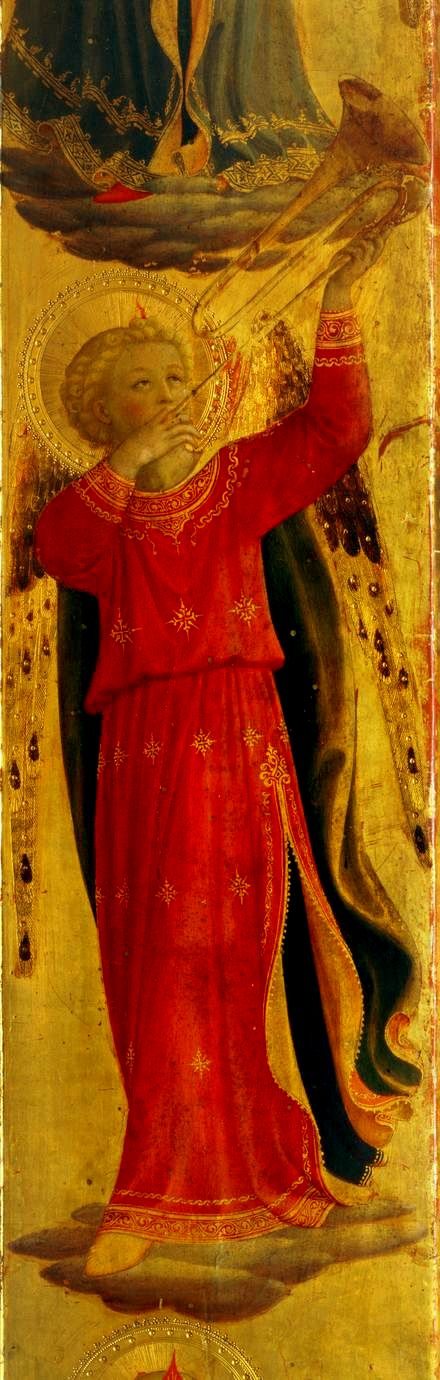 Angel Playing a Trumpet -- Detail from the Linaiuoli Triptych -- 1433 -- Fra Angelico -- Italian -- Tempera & gold on panel -- San Marco Basilica, Venice
