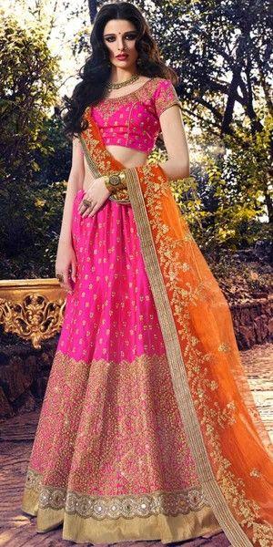 Pretty Pink And Orange Silk Designer Lehenga Choli With Dupatta.