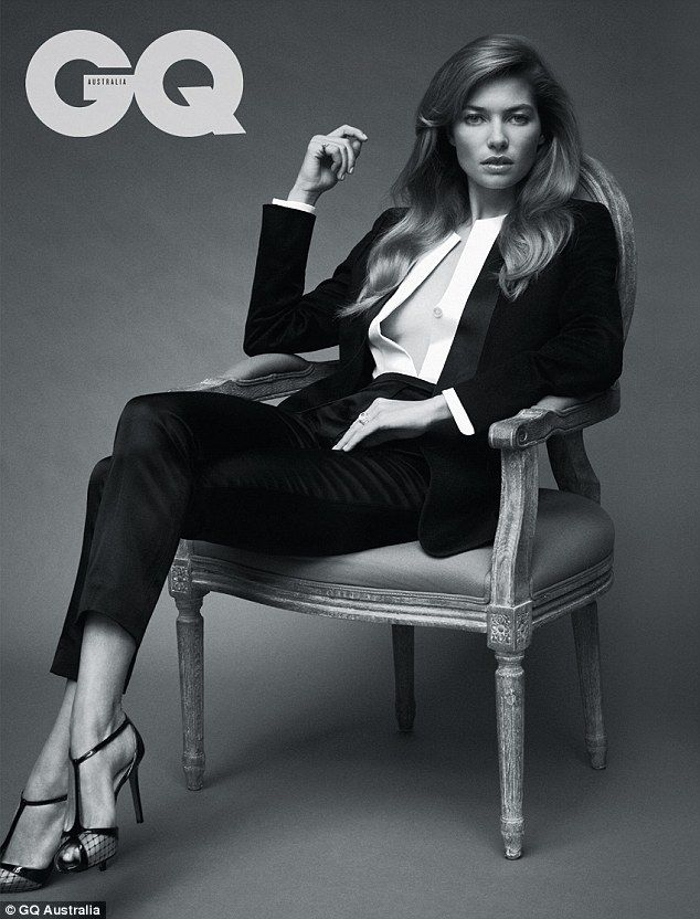Rising star:  Jessica Hart: The blonde bombshell looked sleek and sophisticated in a black tuxedo and open white shirt