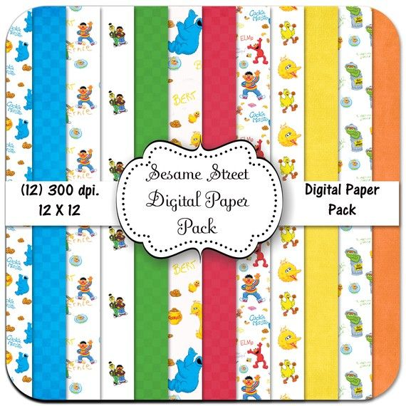 Sesame Street Inspired Paper Pack - 12 Digital Papers300 Dpi, Sesame Street, Paper Pack, Digital Paper