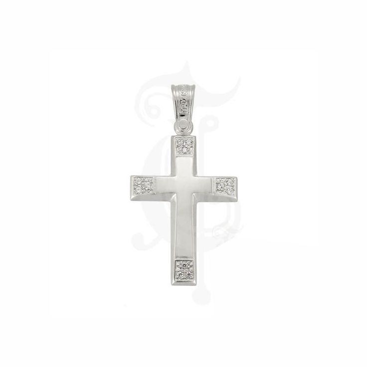 Βαπτιστικός σταυρός ΤΡΙΑΝΤΟΣ για κορίτσι από λευκόχρυσο Κ14 με πέτρες καρφωμένες στα χαμηλά άκρα του | Σταυροί βάπτισης ΤΣΑΛΔΑΡΗΣ στο Χαλάνδρι #Τριάντος #βάπτιση #κορίτσι #σταυρός