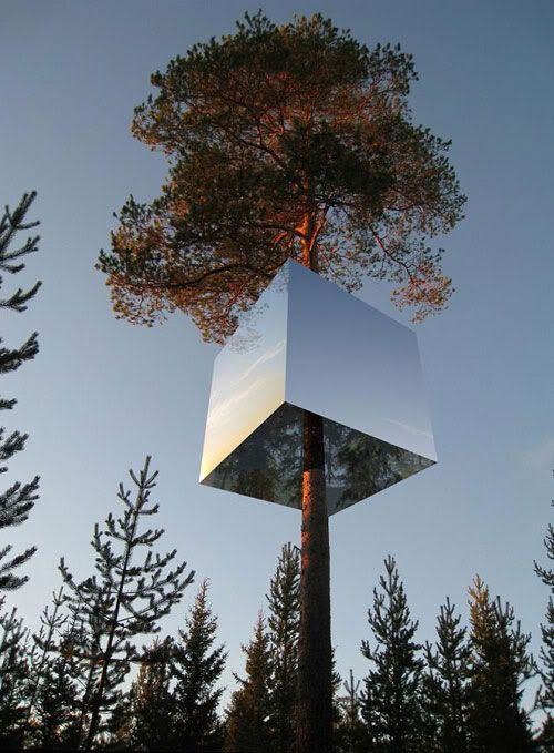 Mirror cube tree hotel by Tham  Videgård Arkitekter