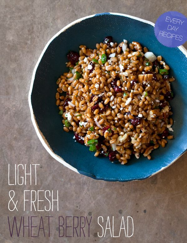 Light and Fresh Wheat Berry Salad. A great light, but filling recipe of wheat berry, tart cranberries and pecans and a tangy white balsamic vinaigrette all tossed together with fresh minced parsley and mint.