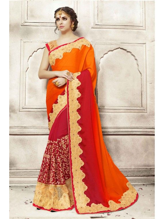 Angelic Shaded Red and Fire Orange Designer Saree
