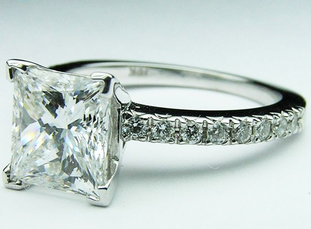 Princess cut Diamond Ring with round diamonds side stones , 0.28 tcw. In White Gold - ES611PRWG