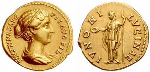 Faustina II (147-176). Aureus, 7 g, 20 mm, 145-161. FAVSTINAE AVG PII AVG FIL. Draped bust right with band of pearls round head. / IVNONI LVCINAE. Juno standing left, holding patera in right hand and long sceptre in left. RIC III 505b [Antoninus Pius], Cohen 131var, BMC 1045 [Antoninus Pius], Calico 2061. $4.339.