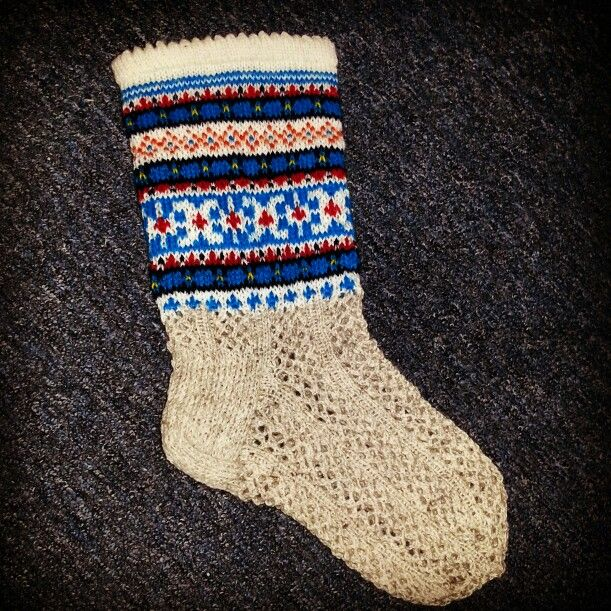 Latvian sock with lace 100% wool