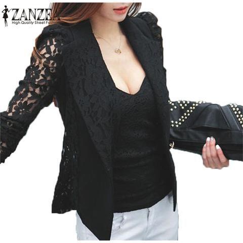 Zanzea 2017 Fashion Coat Sexy Sheer Lace Blazer Suit Outwear Women OL Formal Long Sleeve Slim Casual Jackets Plus Size S-3XL