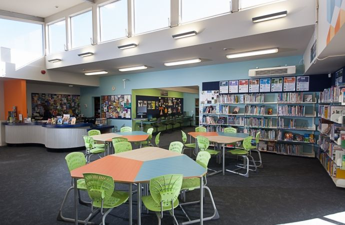 Chisnallwood library featuring Formica Tangelo Dotscreen and Formica Aqua Dotscreen