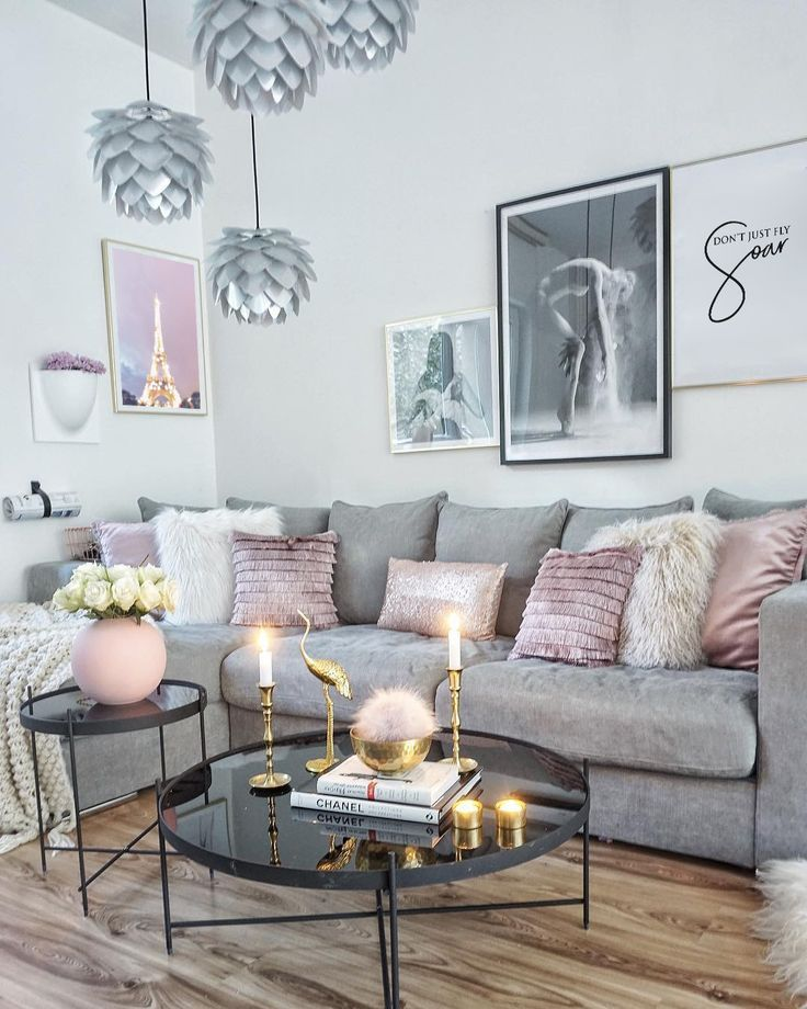 Pink Grey Living Room Interior Decor Decor Interior Living Living Room Decor Apartment Pink Living Room Gold Living Room