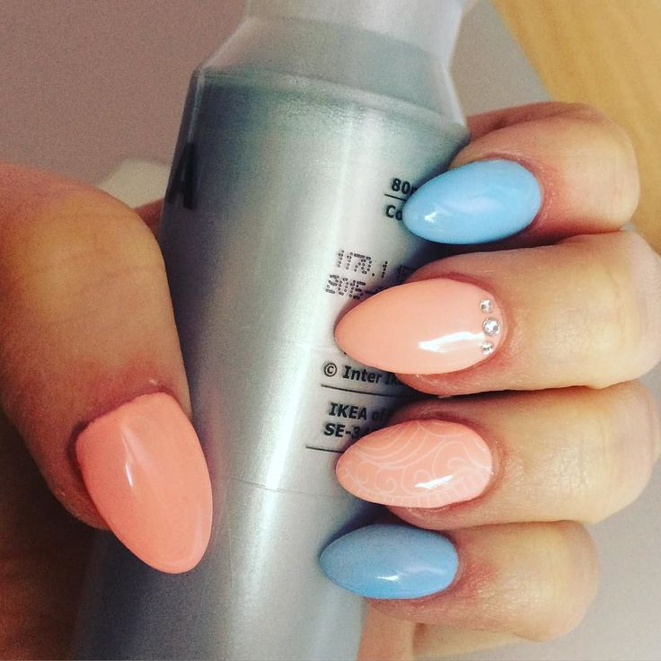 #gelnails #semilac #nails2inspire #peach #babyblue #nailart  by _olciaaa
