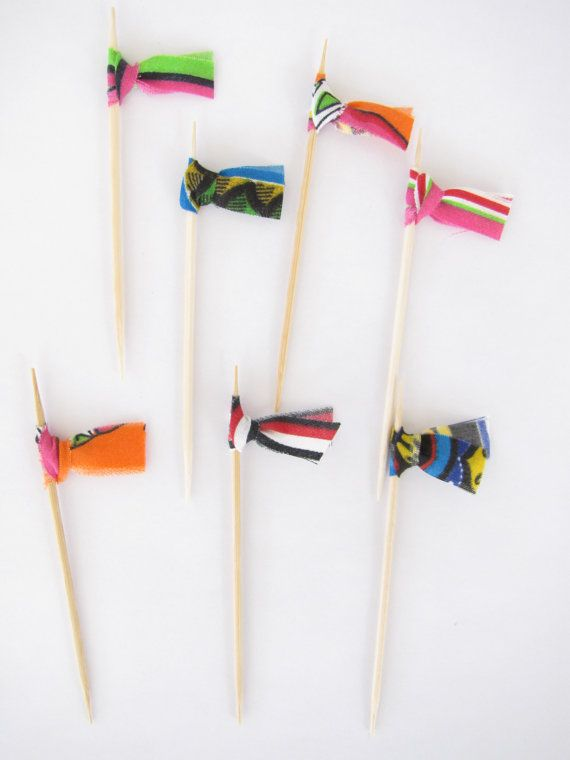 Fabric Cupcake Cake Topper Flags, Wedding, Shower, Birthday, Party Decor - African colorful summer outdoor barbecue