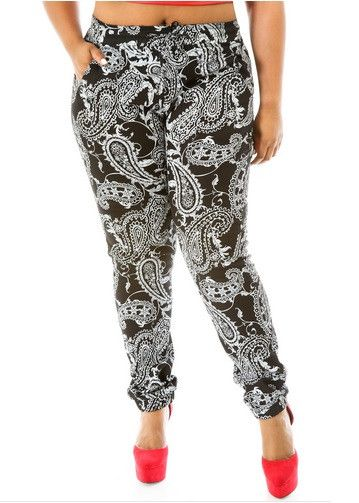 Final Sale Plus Size Jogger Long Pants in Black Bandanna Print – Chic And Curvy