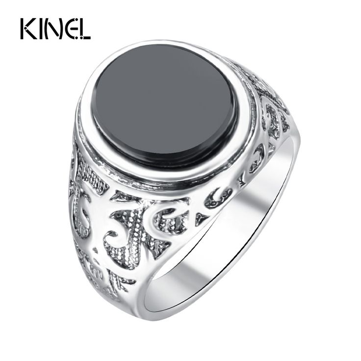 Punk Black Ring For Men Silver Plated Circular Surface Classic Pattern Fashion Rings Vintage Men Jewelry
