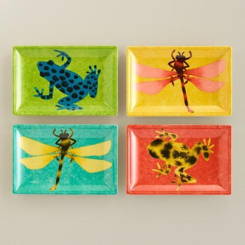 One of my favorite discoveries at WorldMarket.com: Dragonfly and Frog Appetizer Plates, Set of 4