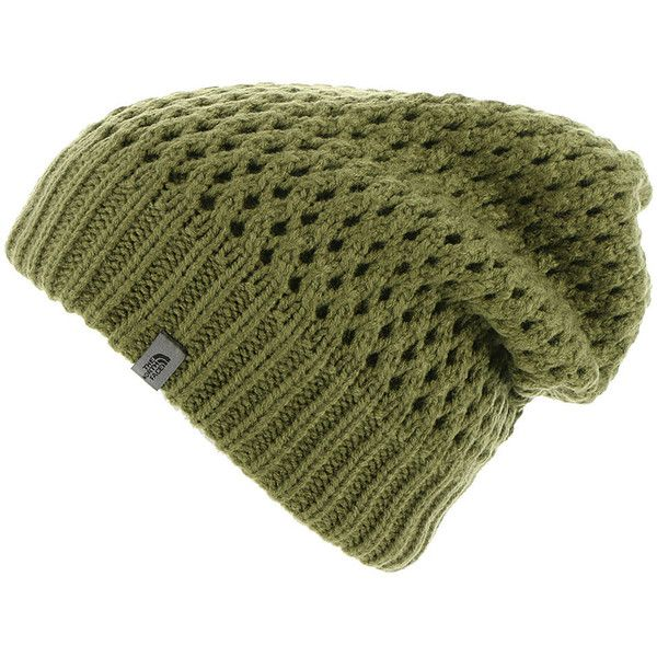 The North Face Shinsky Beanie women's Green Hats ($30) ❤ liked on Polyvore featuring accessories, hats, green, cap hats, green beanie hat, beanie caps, green caps and slouchy beanie
