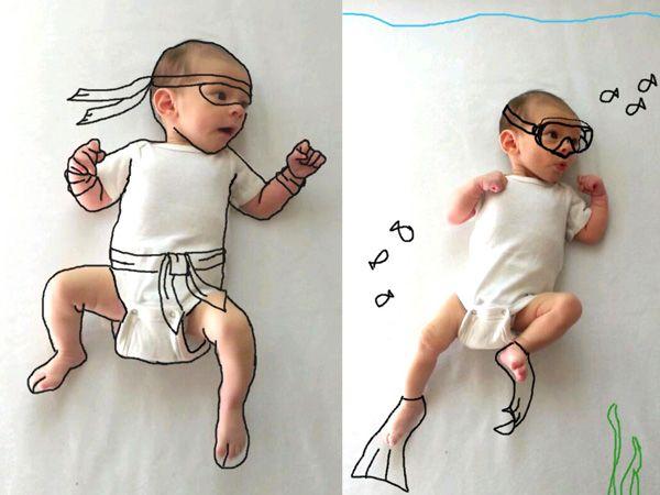 Una giovane mamma creativa trasforma il suo neonato con Photoshop | Darlin Magazine