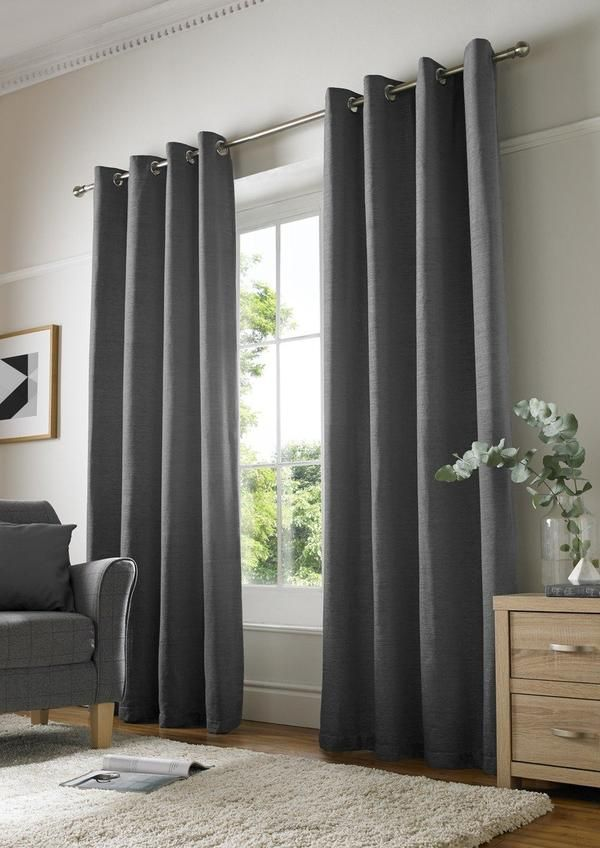 Chenille Plain Ready Made Lined Eyelet Curtains Charcoal Charcoal Curtains Plain Curtains Cream Curtains