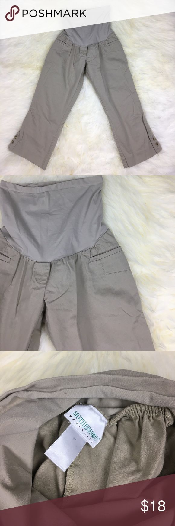 "Motherhood Maternity Cropped Khaki Capri Pants L Motherhood Maternity Cropped Khaki Capri Pants L. Pre-owned with normal wear. 21"" inseam. Bundle three or more items and save 15% off! (2) Motherhood Maternity Pants Ankle & Cropped"