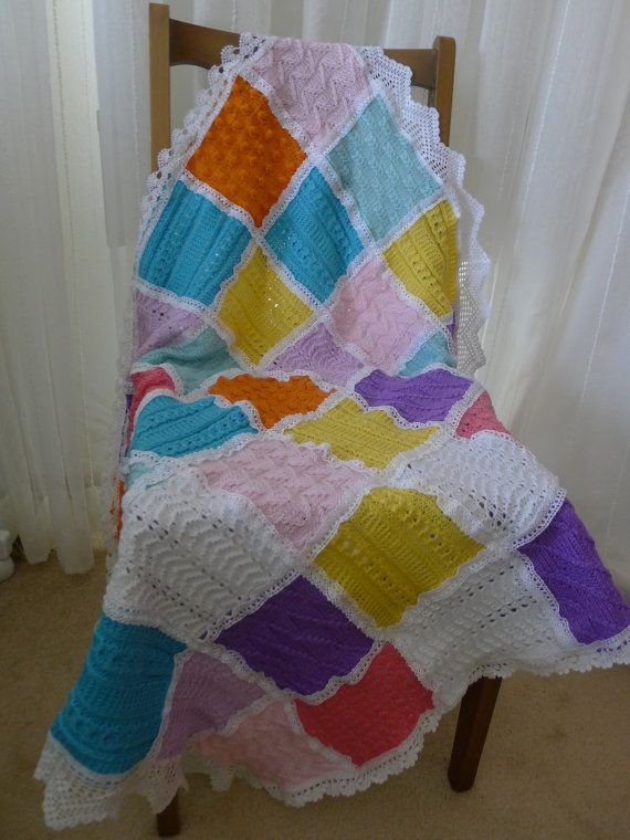 Colorful Unique Handmade Baby Blanket with  Vintage by fyboutique, $54.95