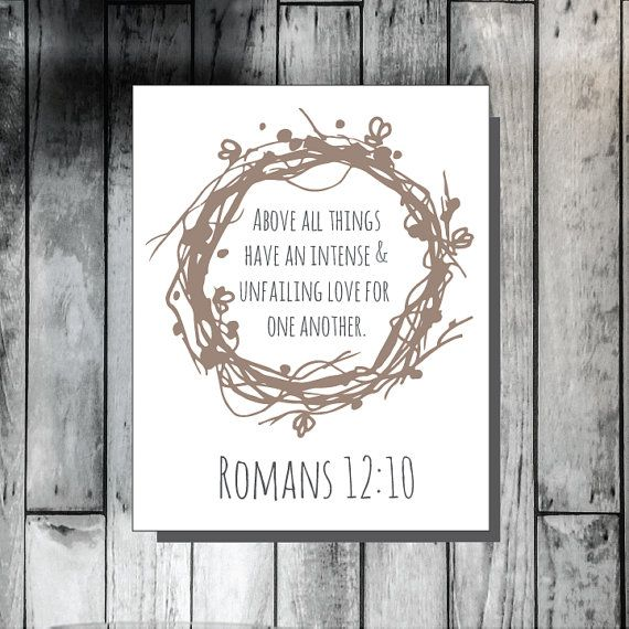 Above All Things, Romans 12:10, Scripture decor, scripture wall art, Christian Decor, Christian couple, Wedding gift, bridal shower gift