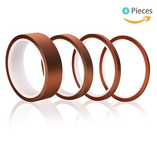 High Temp Tape, Elegoo 4 Pack Kapton Polyimide High Temperature Resistant Tape Multi-Sized Value Bundle 1/8'', 1/4'', 1/2'', 1'' with Silicone Adhesive for Masking, Soldering etc.  High Temp Tape, Elegoo 4 Pack Kapton Polyimide High Temperature Resistant Tape Multi-Sized Value Bundle 1/8'', 1/4'', 1/2'', 1'' with Silicone Adhesive for Masking, Soldering,  ★HN Polyimide polymers film exhibits an excellent balance of physical, chemical, and electrical properties over a wide temperature r...