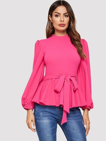 bda6a0be0a Neon Pink Lantern Sleeve Belted Peplum Top #blouse #Tops #Shirts