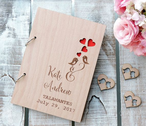 Love Birds Rustic Wedding Guest Book