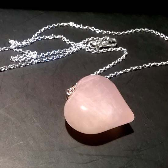PENDANT HEART PINK QUARTZ SILVER with Pink Quartz in Heart Shape 25mm and Silver 925 Chain | Crystal Pepper
